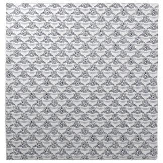 Blanco con el anillo de diamante del platino servilletas de papel