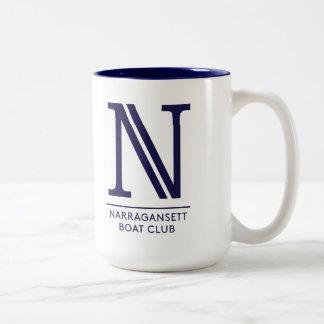 Blanco con el interior azul taza del Dos-Tono de