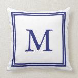 Blanco con el monograma azul náutico del marco almohada