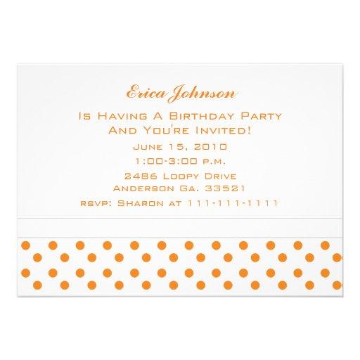 Blanco con las invitaciones anaranjadas del fiesta invitacion personalizada