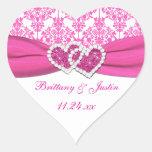 , Blanco corazones unidos damasco rosado que casan Pegatina De Corazón Personalizadas