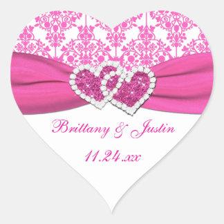 , Blanco corazones unidos damasco rosado que casan Pegatina En Forma De Corazón