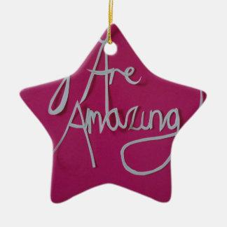 blanco cortado papel asombroso rosado adorno navideño de cerámica en forma de estrella