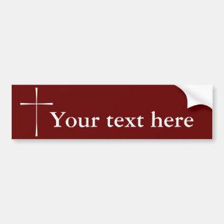 Blanco cruzado del libro de oración etiqueta de parachoque