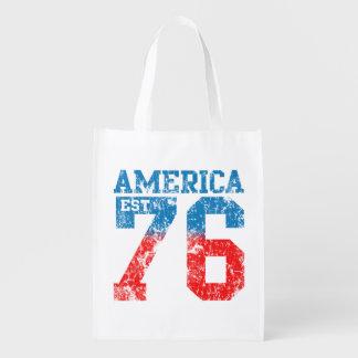 Blanco de América Est 1776 y azul rojos Bolsas Para La Compra