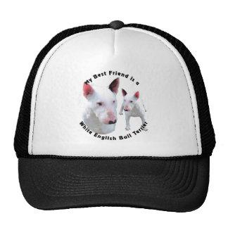 Blanco de bull terrier del inglés del mejor amigo gorro de camionero