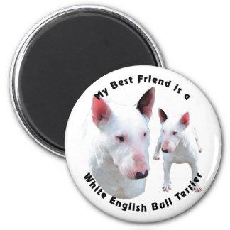 Blanco de bull terrier del inglés del mejor amigo imán para frigorifico