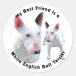 Blanco de bull terrier del inglés del mejor amigo etiqueta redonda