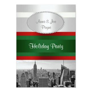 Blanco de BW 05 del horizonte de NYC, navidad Invitación 12,7 X 17,8 Cm