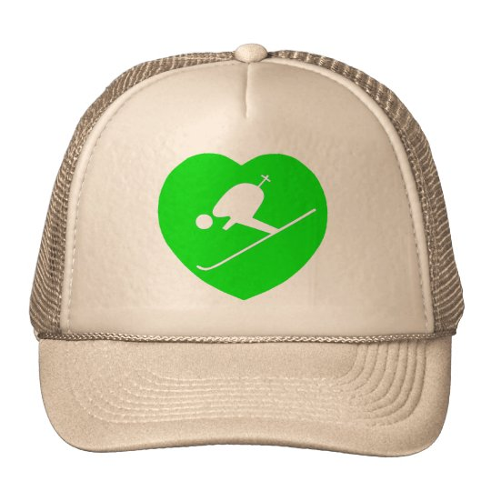 Blanco de esquí en corazón verde gorros