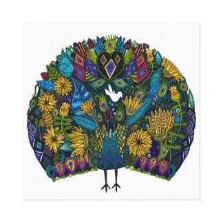 blanco de jardín del pavo real impresion de lienzo