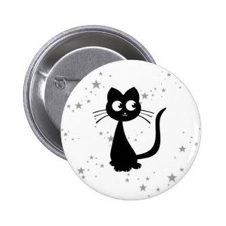 Blanco de Kuro del gatito Pin Redondo 5 Cm