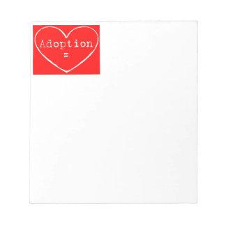 Blanco de la adopción = del amor en rojo bloc de notas