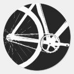 Blanco de la bici de la pista etiqueta redonda