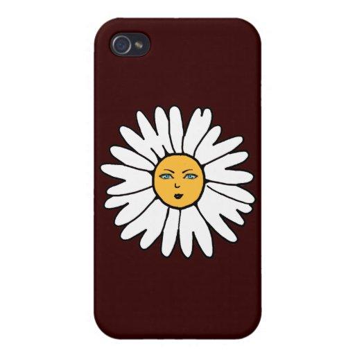 Blanco de la cara de la flor iPhone 4 protector