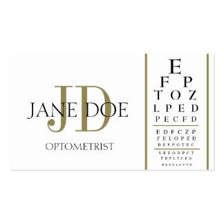 Blanco de la carta del optometrista/rayas del oro tarjetas de visita