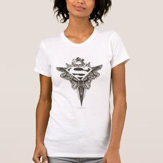 Blanco de la estrella y del cráneo del superhombre remeras