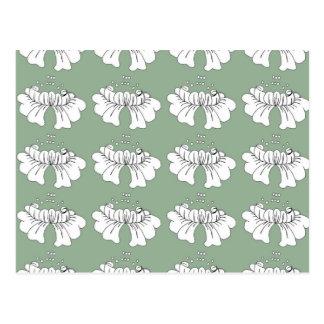 blanco de la flor de la burbuja en verde tarjetas postales