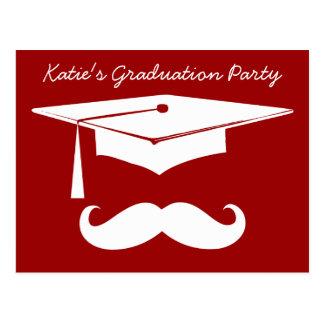Blanco de la graduación del bigote tarjetas postales