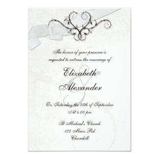 Blanco de la invitación del corazón 5x7 de la invitación 12,7 x 17,8 cm