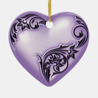 Blanco de la lila w de la voluta del corazón ornamentos de reyes magos