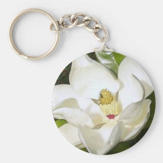 Blanco de la magnolia llaveros