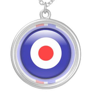 blanco de la MOD 3d en líneas azules y rojas Pendiente