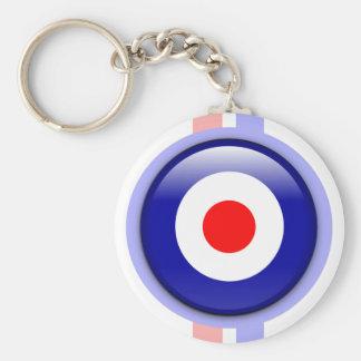 blanco de la MOD 3d en líneas azules y rojas Llavero Redondo Tipo Pin