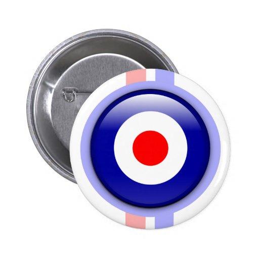 blanco de la MOD 3d en líneas azules y rojas Pins