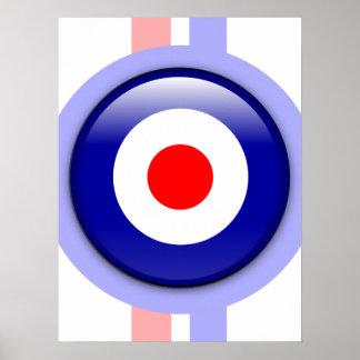 blanco de la MOD 3d en líneas azules y rojas Póster