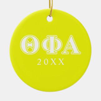 Blanco de la phi de la theta y amarillo alfa adorno navideño redondo de cerámica