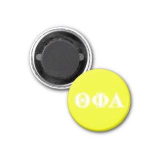 Blanco de la phi de la theta y amarillo alfa imán redondo 3 cm