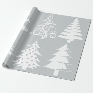 Blanco de la plata del modelo del árbol de navidad papel de regalo