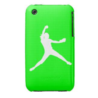 blanco de la silueta de Fastpitch del iPhone 3 en iPhone 3 Case-Mate Protectores