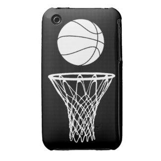 blanco de la silueta del baloncesto del iPhone 3 e iPhone 3 Case-Mate Cárcasas