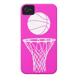 blanco de la silueta del baloncesto del iPhone 4 e iPhone 4 Case-Mate Protectores