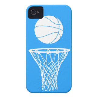 blanco de la silueta del baloncesto del iPhone 4 e iPhone 4 Case-Mate Funda