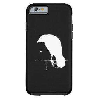Blanco de la silueta del cuervo del vintage en el funda para iPhone 6 tough