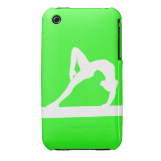 blanco de la silueta del gimnasta del iPhone 3 en Case-Mate iPhone 3 Cobertura
