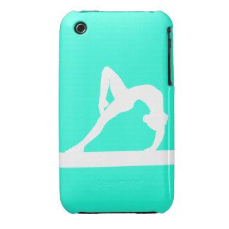 blanco de la silueta del gimnasta del iPhone 3 en  Case-Mate iPhone 3 Cárcasa