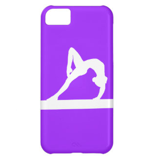 blanco de la silueta del gimnasta del iPhone 5 en  Funda Para iPhone 5C