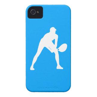 blanco de la silueta del tenis del iPhone 4 en azu iPhone 4 Case-Mate Protectores