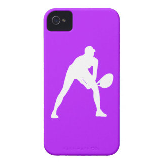 blanco de la silueta del tenis del iPhone 4 en púr iPhone 4 Carcasas