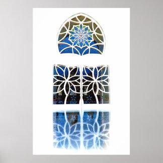 Blanco de la ventana 1 del salón de la mezquita póster