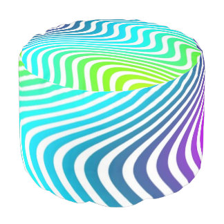 Blanco de las ondas del bonito coloreado + sus puf redondo