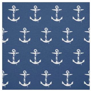 Blanco de los azules marinos del ancla telas