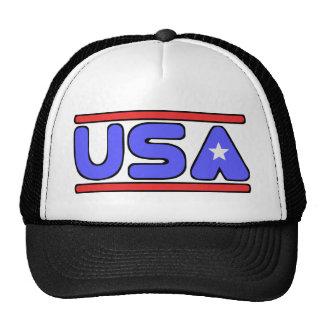 Blanco de los E.E.U.U. y azul rojos Gorras De Camionero