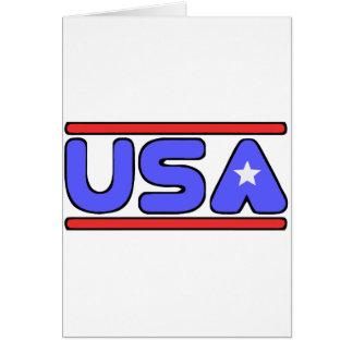 Blanco de los E.E.U.U. y azul rojos Tarjeta De Felicitación
