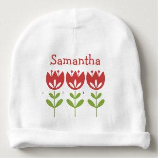 Blanco de los tulipanes rojos daneses lindos de la gorrito para bebe