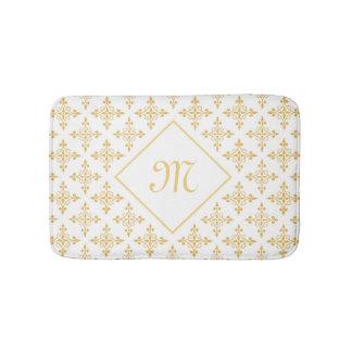 Blanco de lujo y oro Quatre del monograma floral